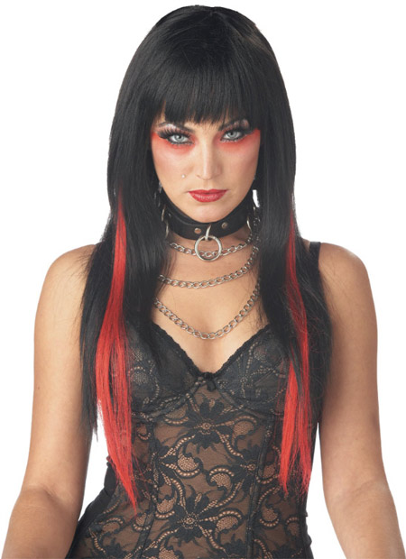 Black/Red Long Streak Wig