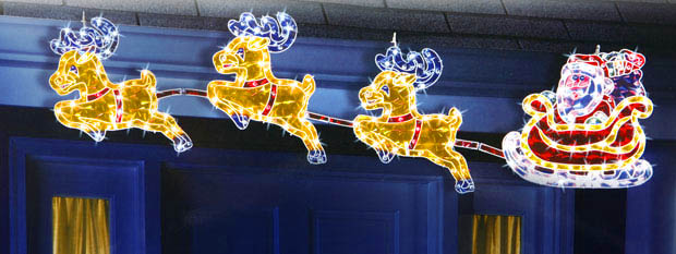 holographic reindeer and santa - Holographic Christmas Decorations