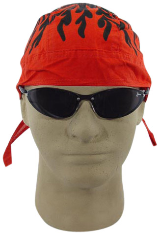 Red Flames Skull Cap