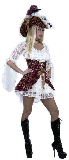 White Lacey Pirate Lady Costume