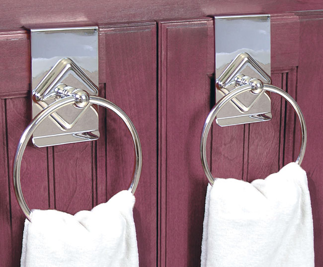 Chrome Clip On Cabinet Door Towel Rings