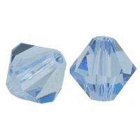 Light Sapphire 6mm Faceted Bicone Crystal Beads 14 Inch Strand