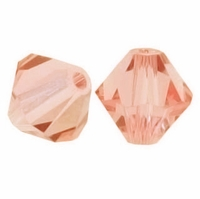 Peach 6mm Faceted Bicone Crystal Beads 14 Inch Strand