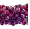 12mm Rose Stripe Agate Beads 16 Inch Strand