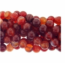 10mm Natural Red Stripe Agate Beads 16 Inch Strand