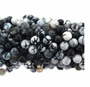 10mm Faceted Black and White Striped Agate 16 Inch Strand