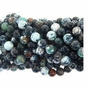 10mm Faceted Moss and Black Striped Agate 16 Inch Strand