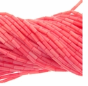 Pink Coral 4x7mm Tube Beads 16 Inch Strand