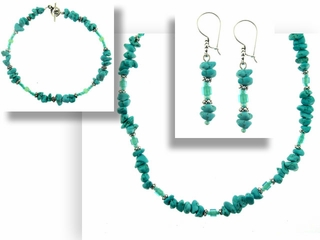 Turquoise Chips Necklace Bracelet and Earrings Set