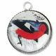 Silver Plated Glass Dome Fancy Red Bird Pendant Charm (1PC)