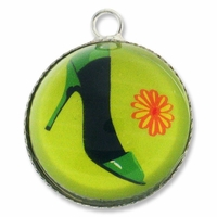 Silver Plated Glass Dome Fancy Shoe Pendant Charm (1PC)