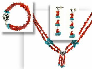 Turquoise on Fire Necklace Bracelet and Earrings Set