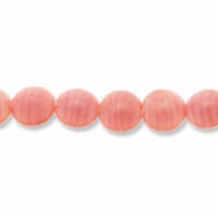 Czech Glass Pearly Pink Swirl Biconed Flat Disc Beads (17PK)