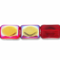 Czech Glass Red AB 10x7mm Faceted Rectangle Beads(12PK)