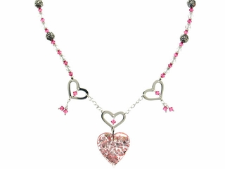 Valentine Heart and Flower Necklace