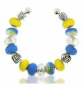 Blue and Yellow Floral Large Hole Bracelet Design Idea
