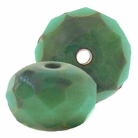 Gemstone Donut 7/5mm Turquoise/Picasso Beads (12PK)