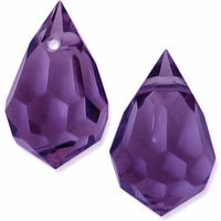 Czech 6 x 10mm Tear Drop Tanzanite Beads (1PR)
