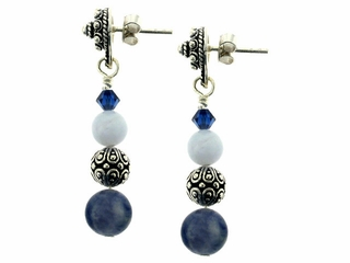 Denim and Lace Earrings