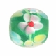 12mm Green Floral Round Lampwork Beads (5PK)