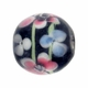 12mm Black Floral Round Lampwork Beads (5PK)