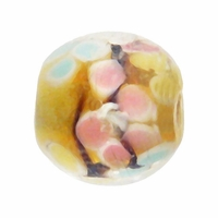 12mm Jonquil Floral Round Lampwork Beads (5PK)