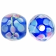 12mm Blue Floral Round Lampwork Beads (5PK)