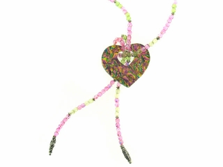 Dichroic Heart Lariat Necklace