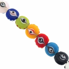 10mm Multicolor  Disk Lampwork Beads (1 Strand)