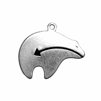 Sterling Silver Heartline Bear Charm