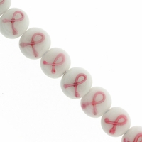 White10mm Disc with Pink Support Ribbon Beads (8PK)