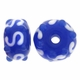 13mm Blue White with Bumps Rondel Lampwork Beads (5PK)