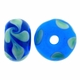 13mm Peridot and Blue Floral Rondel Lampwork Beads (5PK)