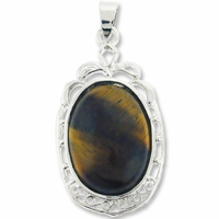Natural Tiger Eye 44mm Oval Pendant (1PC)