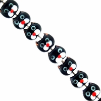 Black Kitty Faces 11mm Lampwork Beads (6PK)