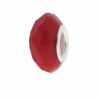 MIOVI™ Glass Crystal Cut Large Hole Beads w/SP Grommets 14x9mm Opaque Red (6PK)