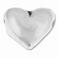 Antiqued Silver 9mm Puffed Heart Bead (1PC)