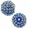 18mm 2XAB Rhinestone Blue Resin Bead (2PK)