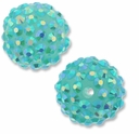 18mm 2XAB Rhinestone Teal Resin Bead (2PK)
