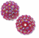 18mm 2XAB Rhinestone Rose Resin Bead (2PK)