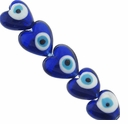 Evil Eye 20mm Puffed Heart Lampwork Beads (5PK)