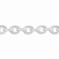 Silver Plated 3x4mm Oval Chain (1FT)