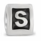 8mm Letter Beads Silver Plated Large Hole S (1PC)