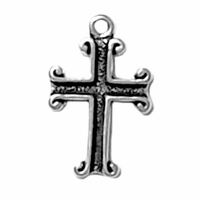 Sterling Silver Cross; Scroll End Sterling Silver Charm