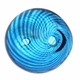 Hand Blown 13mm Round Blue/Black Swirl Beads (1 PC)