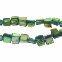 Olivine 8x6mm Natural Nugget Mother of Pearl  Beads 16 Inch Strand
