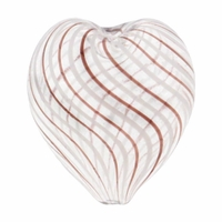 Hand Blown Heart 22x20mm Clear/White &Brown Swirl Beads (1 PC)