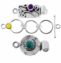 Sterling Silver Clasps with Gemstones
