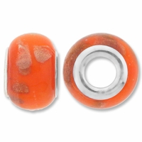 MIOVI™ Lampwork Large Hole Beads w/SP Grommets 14x9mm Orange Copper Foil Design (6PK)