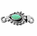 Marquise Faceted Turquoise Sterling Silver Box Clasp